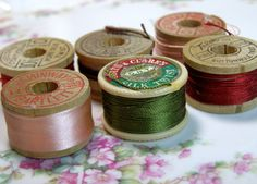 6 Wooden Spools Vintage Silk Thread.