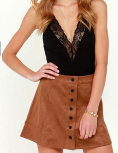 black v-neck lace bodsuit with a brown suede skirt // this would be a cute fall outfit with a chunky knit cardigan and knee high socks with tall boots