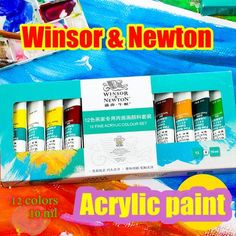 12 Colors 10 ML Professional Paint Acrylic World Famous Brand Acrylic  – Save Major