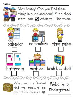 Orientation:  Another idea for Scavenger Hunt / Classroom I Spy