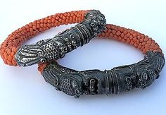 Antique Chinese Coral Sterling Silver Dragon Wedding Bangle Bracelets