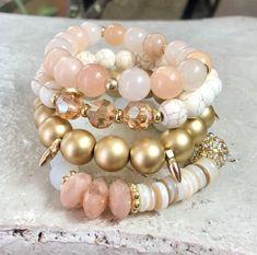 Kinsley Bracelet Set, Stack Bead Bracelet, Druzy Bracelet Set, Gemstone Bracelet Set of Chucky Elastic Bracelet, Boho Jewelry Cute Bracelets, Gemstone Bracelets, Handmade Bracelets, Fashion Bracelets, Handmade Jewelry, Jewelry Bracelets, Bracelet Display, Bracelet Set, Making Jewelry For Beginners