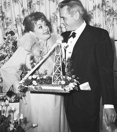 Newly divorced Lucille Ball and Desi Arnaz following the opening night of her Broadway play Wildcat
