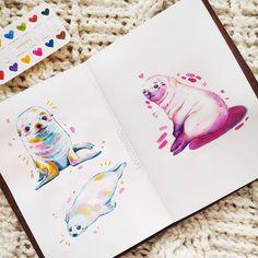 Pretty Art, Cute Art, Watercolor Illustration, Watercolor Art, Animal Drawings, Art Drawings, Sketchbook Inspiration, Kawaii Art, Mandala