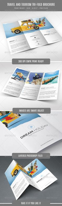 Travel Brochure Template A4 Bi-Fold Travel brochure template - half fold brochure template