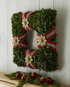 MacKenzie-Childs Square Boxwood Wreath - Horchow