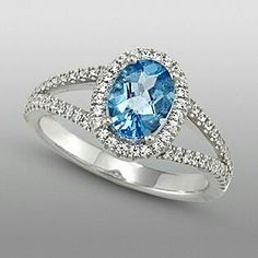 Zeghani Blue Topaz & Diamond Engagement Ring