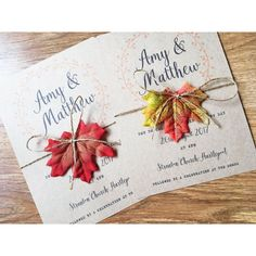 Autumn themed wedding invitations - Your names and wedding details printed onto quality 260gsm, A5 craft card with a matching C5 envelope. - Each card is tied with twine and autumn leaf embellishment. - This listing is for a sample invitation that will not be personalised.
