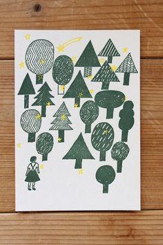オリジナル活版印刷 西淑「よるの森」