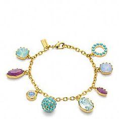 Love these colors!!  COACH - Multi Rhinestone Charm Bracelet