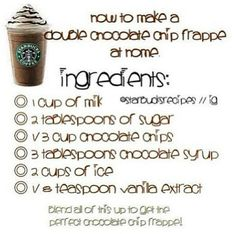 I love Starbucks frappes. This way you don't have to go to Starbucks and get a great frappe at home. Starbucks Frappuccino, Starbucks Drinks, Starbucks Coffee, Coffee Drinks, Iced Coffee, Chocolate Chip Frappe Recipe Starbucks, Coffee Art, Chocolate Chip Frappachino, Coffee Break