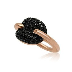 Velini sterling silver 925 rose plated coffee bean ring micro pave setting 68 black CZ stones