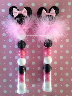 """These Minnie Mouse Favor come with FDA-approved clear plastic tubes filled with bubble gum. They make the perfect complement for you Minnie Mouse Party, Baby Shower etc.  Standard Tube measures 1"""" in diameter and 7"""" long. ( holds 7 - 1"""" gum balls)"""