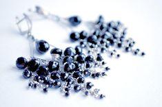 Chandelier earrings silver chalcedony