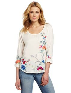 Fashion Lucky Brand Women's Maryam Embroidered Top - http://clothing.wadulifashions.com/fashion-lucky-brand-womens-maryam-embroidered-top/