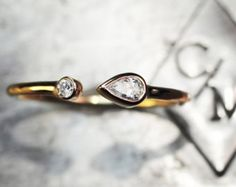 Pear Shaped Diamond Open Cuff Ring in 14K Yellow Gold- Diamond Ring- Statement Ring- Every Day Ring