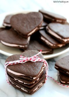 Perfect for Valentine's or *any* time! Pretty Heart Shaped Chocolate Sandwich Cookies from @Julie {Table for Two}