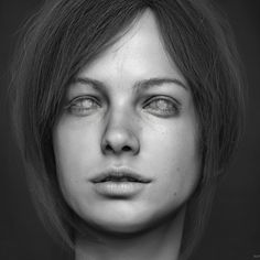 Portrait  Personal project to study female faces. I wanted to try a few different techniques on the eyes and hair, you can see on the breakdown bellow. Everything modeled and rendered using ZBrush, Hair is fibermesh, eyebrow and eyelashes modeled with a cylinder and placed by hand. Hope you like it!