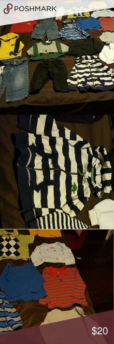 25 piece lot of baby boy 12-24 months This has some cute outfits, sweatshirts, jackets, jeans, pjs, ( gap lined overalls which I paid more for than the  cost of this whole lot ). Shirts, onsies. Shirts & Tops Sweatshirts & Hoodies