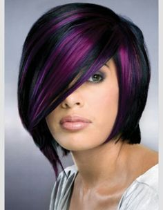 Black and purple hair The 30 Hottest Short Hair Color Trends for 2013 [Photo Gallery] Short Hair Cuts, Short Hair Styles, Pixie Cuts, Hair Photo, Great Hair, Awesome Hair, Pretty Hairstyles, Bob Hairstyles, Black Hairstyles