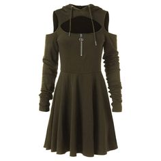Women's Cold Shoulder Long Sleeve Dress Pleated Swing Casual Midi Dress with Hooded Zipper Low Cut Dresses, Types Of Dresses, Casual Dresses For Women, Clothes For Women, Dress Casual, Mini Dresses, Ladies Dresses, Mode Mantel, Goth Dress