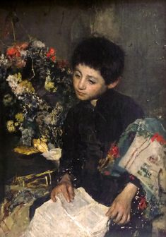 Telemaco With Flowers, Antonio Mancini (1852 - 1930, Italian)  I AM A CHILD-children in art history-blog