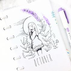 Bullet journal monthly cover page, bullet journal drawing ideas. @rebekajoye