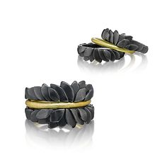 Handcrafted beauty to be displayed on your hands. Stacking Leaf Rings by Giselle Kolb: Gold & Silver Rings available at www.artfulhome.com