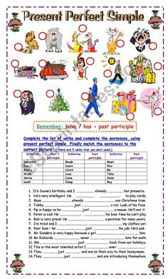 Students complete the past participle forms, complete the sentences in present perfect and match the sentences to the pictures. Nice practice for elementary students! Hope you like it! Presente Perfecto Simple, Present Perfect Form, Esl, See You Around, Perfect English, Verb Tenses, Complete Sentences, Grammar Worksheets, Study Skills