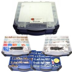 """Copper State 1439 Pc. 97 Hole Portable Fastener Kit by Copper State Bolt & Nut, Co.. $99.99. Grade 5 & 8 Cap Screws Zinc (1/4, 5/16, 3/8, 1/2), up to 3"""" length, Hex Machine Screw Nut (#8), Finished Hex Nuts Zinc (1/4, 5/16, 3/8, 1/2), Grade 8 Nuts (1/4, 5/16, 3/8, 1/2, 1), Keps Nuts Zinc (#8, #10, 1/4),  All Metal Locknuts Zinc (1/4, 5/16, 3/8, 1/2), Fender Washers Zinc (#10, 1/4, 5/16, 3/8, 1/2), High Alloy Lockwashers Zinc (1/4, 5/16, 3/8, 1/2, 1), Hardened SAE Flatwashers ..."""