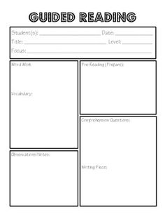 Guided Reading Record Sheet Template Guided Reading Template - Free guided reading lesson plan template