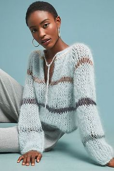 Soft blue on this Sunday with the Mohair Blouse with Lurex. This shows a sweater can be dressy too! Knitwear Fashion, Knit Fashion, Sweater Fashion, Sweater Knitting Patterns, Knitting Designs, Hand Knitting, Pullover Mode, Mohair Sweater, Knit Sweaters