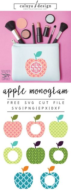 FREE apple monogram SVG cut file, Printable vector clip art download. Free printable clip art apple monogram. Compatible with Cameo Silhouette, Cricut explore and other major cutting machines. free for personal use, only $3 for commercial use. Perfect for DIY craft project with Cricut & Cameo Silhouette, card making, scrapbooking, making planner stickers, making vinyl decals, decorating t-shirts with HTV and more! Free SVG cut file, apple SVG cut file, fruit SVG Cut file, school SVG