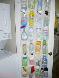 Use a clear plastic or mesh shoe hanger with pockets to store laundry and cleani. Use a clear plastic or mesh shoe hanger with pockets to store laundry and cleaning supplies. Much better than throwing them all under the sink! Shoe Hanger, Shoe Racks, Diy Rangement, Door Shoe Organizer, Over The Door Organizer, Laundry Organizer, Ideas Para Organizar, How To Store Shoes, Laundry Room Storage