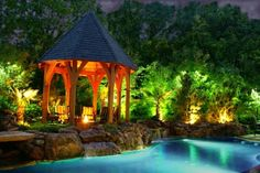 pool lighting gazebo #pool #lighting #gazebo