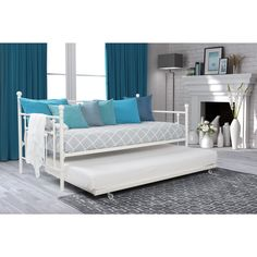 DHP White Manila Full Size Metal Daybed and Twin Size Trundle (Full size daybed with twin trundle), Kids Unisex Full Size Daybed, Furniture, Room, Daybed With Trundle, White Daybed, Home, Metal Daybed, Twin Mattress Size, Bed