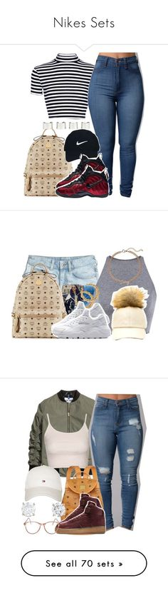 """""""Nikes Sets"""" by luhariiee ❤ liked on Polyvore featuring MCM, Nike Golf, NIKE, Maison Margiela, AriIdeas, H&M, Fendi, Juicy Couture, Topshop and Tommy Hilfiger"""