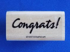 Congrats! Wood Mounted Rubber Stamp Gently Used 1997 Stampin' Up! Stampin Up #StampinUp #Background