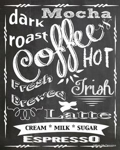 COFFEE, LATTE, ESPRESSO ... Chalkboard Art Print Digital Download