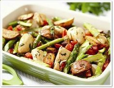 roasted chicken breast w/red potatoes and asparagus - clean eating.
