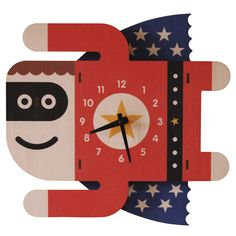 wall clock with quartz movement. Pre-drilled hole for hanging and no assembly required. Requires 1 AA battery (not included). Measures: W x H x D Superboy Kids Clock by Modern Moose. Home & Gifts Lambertville, New Jersey 3d Wall Clock, Clock For Kids, Kids Clocks, Little Bit, Wood Clocks, Kids Decor, Kids Furniture, Home Gifts, Moose
