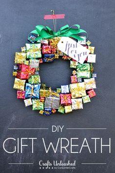 DIY Christmas Gift Box Wreath - CraftsUnleashed.com