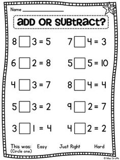 Teaching math · choose an operation - add or subtract - differentiated worksheets first grade worksheets, grade Math Classroom, Kindergarten Math, Teaching Math, Preschool, Math 2, Classroom Decor, Math Resources, Math Activities, First Grade Worksheets