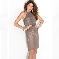 Find More Cocktail Dresses Information about Sexy Halter Brown Crystal Beaded Chiffon Cocktail Dresses 2015 Formal Women Knee Length Party Prom Gowns robe de cocktail CBC2,High Quality dress favors,China dress demetrios Suppliers, Cheap gown beaded from LaceBridal on Aliexpress.com