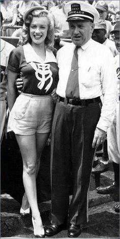 "Marilyn at Wrigley Stadium in Chicago for a pro-celeb baseball match during the ""Love Happy"" tour, 1949."