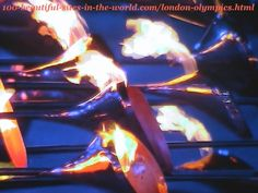 London Olympics 2012. Lighting the main torch (caldron) from its parts (copper petals) before launching it high
