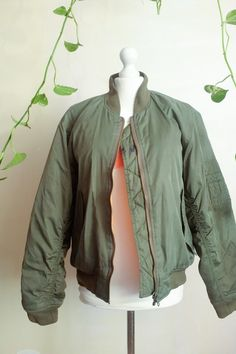 Vintage 80's Olive army Green Padded Bomber by VintageVanillaShop