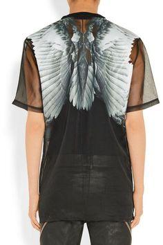 Givenchy - Printed T-shirt In Black Silk-organza - FR40