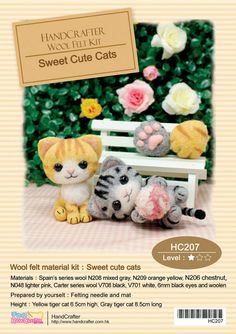 Needle Felting Use Wool Felt to make Sweet Cute Cat : English Material Kit can make 2 (English / For Beginner)