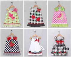 Several summer dresses with appliqués Little Dresses, Little Girl Dresses, Girls Dresses, Summer Dresses, Baby Dress Patterns, Baby Sewing, Toddler Dress, Diy Clothes, Kids Outfits